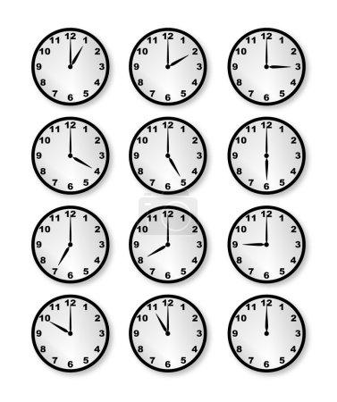 Illustration pour Une collection d'horloges marquant chacune une heure différente sur un fond blanc - image libre de droit