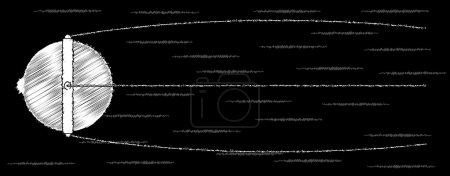 Illustration for Sputnik satalite chalk drawing on a blackboard launched in the 1950s set against a fast moving star field on black - Royalty Free Image