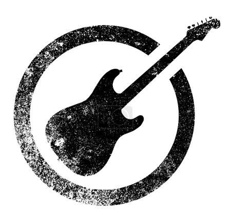 Black Ink Stamp Guitar
