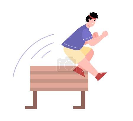 Mann springt mit Mühe über Hindernis, Zeichentrickvektorillustration isoliert.