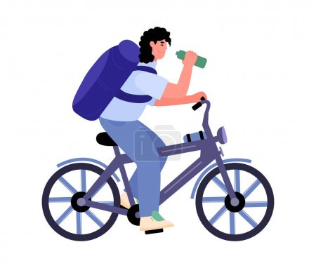 Illustration for Mountain bike rider with backpack on bike trip, flat cartoon vector illustration isolated on white background. Summer bicycle traveling and tourism activity. - Royalty Free Image
