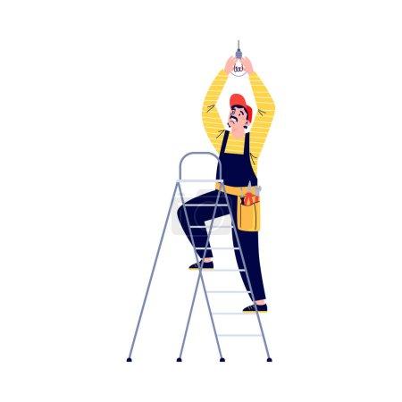 Illustration pour Ouvrier électricien debout sur escabeau et changeant d'ampoule électrique, illustration vectorielle plate isolée sur fond blanc. Entretien du matériel électrique. - image libre de droit