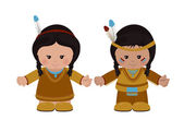 American Indians man and woman in national dress