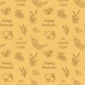 Seven species of the Shavuot monochrome seamless pattern