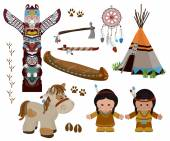 Indian symbols set cartoon characters of American Indians