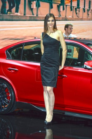 Red Ifiniti. Moscow International Automobile Salon Women