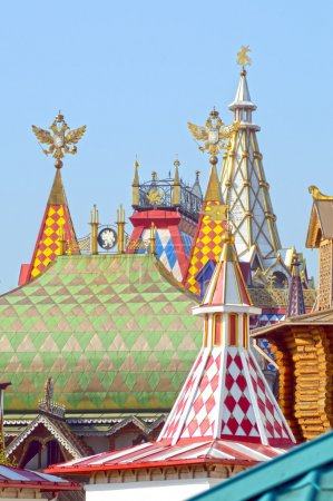 The Kremlin in Izmailovo Roofs, spiers, double-headed eagles Sunny day