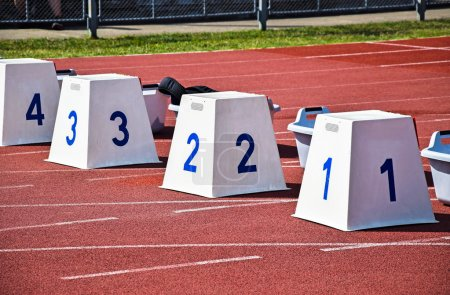 Photo for Starting blocks of the running track - Royalty Free Image