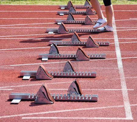 Photo for Running track and starting machines - Royalty Free Image