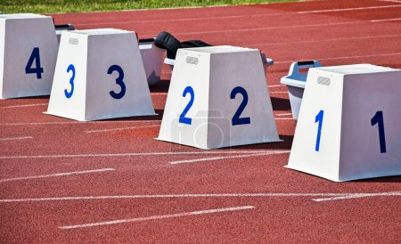 Photo for Starting block on the running track - Royalty Free Image