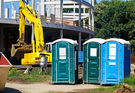 Portable toilets at the construction site