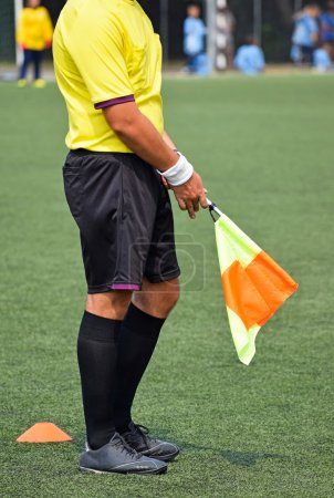 Referee with a flag