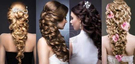 Photo for Collection of wedding hairstyles. Beautiful girls. Beauty hair. Photo taken in the studio - Royalty Free Image
