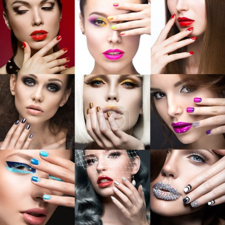 Photo pour Nail Art Collection. Un beau visage. Belle fille mannequin. Photo prise dans un studio. Collage . - image libre de droit
