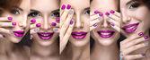 Krásná dívka s světlé večerní líčení a manikúra růžové kamínky. Nail design. Krása obličej