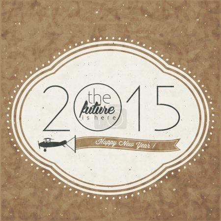 Foto de Estilo retro de dibujos animados ilustración de saludos de año nuevo. Símbolos tipográficos y caligráficos de estilo vintage para oveja año nuevo tarjetas de diseño. Ilustración dibujo de la mano de 2015 - Imagen libre de derechos