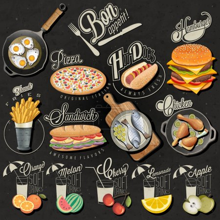 Retro vintage style fast food and drinks designs