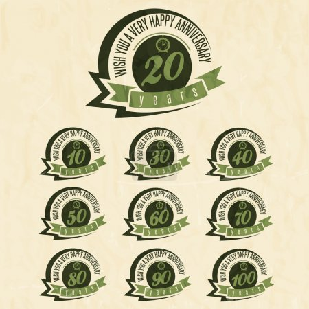 Vintage style anniversary sign collection