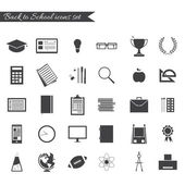 Back to school icons set black and white silhouette