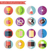 Back to school icons set in flat style bright colored simple