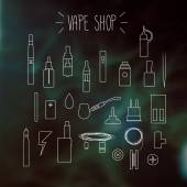 The linear icons on a blurred background Vape