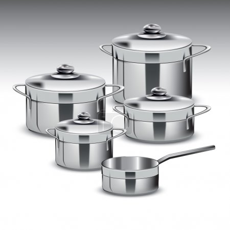 Illustration for Group of stainless steel kitchenware isolated on white. Vector illustration - Royalty Free Image