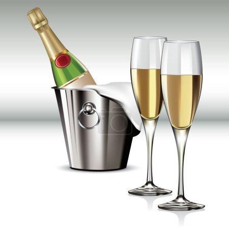 Illustration pour Bouteille de champagne dans une glacière et un grand verre de champagne. Illustration vectorielle - image libre de droit