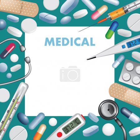 Illustration for Medical background with pills, tablets and medical elements. Vector illustration - Royalty Free Image