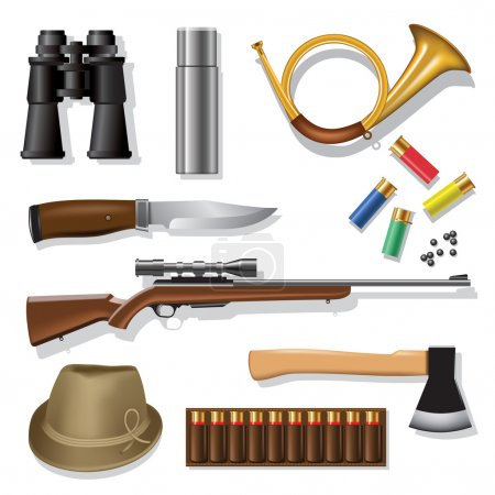 Illustration for Hunting and outdoor traditional equipment over white background. Vector illustration - Royalty Free Image