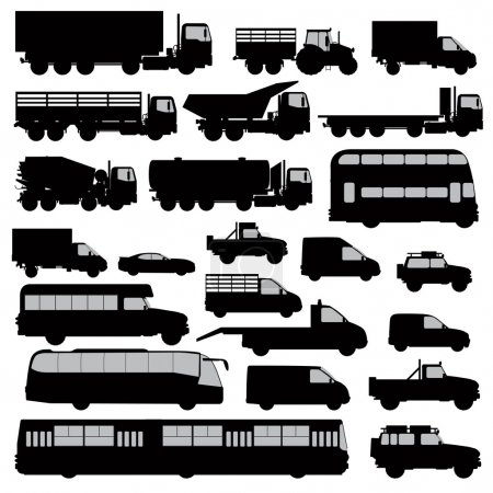 Illustration for Set silhouette different types of the cars isolated on white. Vector illustration - Royalty Free Image