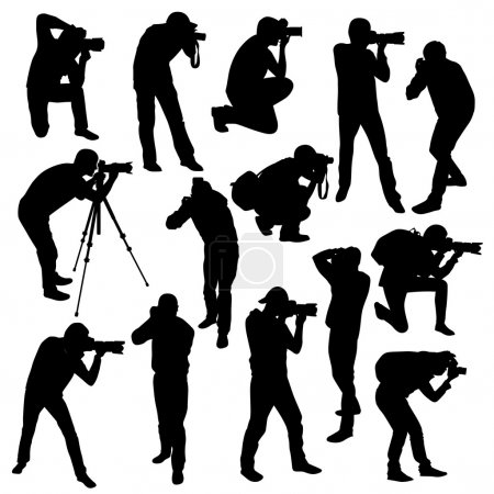 Illustration for Photographers silhouettes collection isolated on white. Vector illustration - Royalty Free Image