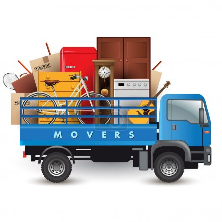 Removals truck car with stuff on the top