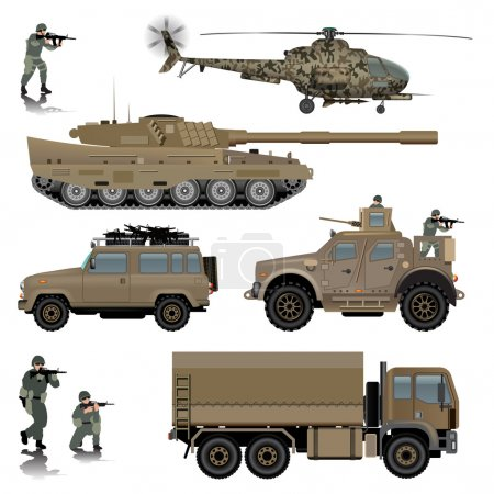 Set of military vehicles. Tank, helicopter, land v...