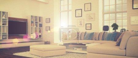 Photo pour Rendu 3D de moderne, luxueux, lumineux séjour avec un grand canapé (style rétro). - image libre de droit