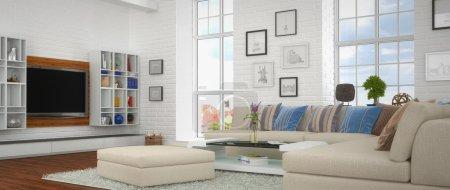Photo pour Rendu 3D de moderne, luxueux, lumineux séjour avec un grand canapé. - image libre de droit