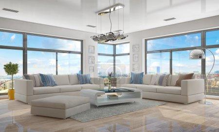 Photo pour Rendu 3D de moderne, luxueux, lumineux appartement-loft avec salon. - image libre de droit