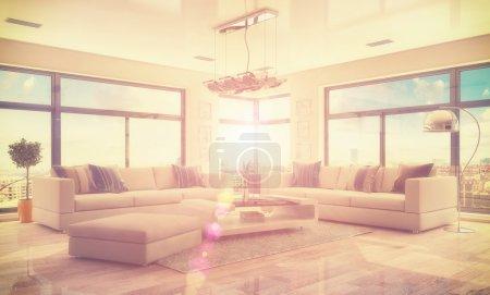 Photo pour Rendu 3D de moderne, luxueux, lumineux appartement-loft avec salon - style rétro. - image libre de droit