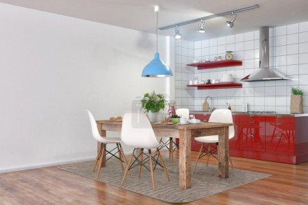 3d render - modern kitchen interior with dining area