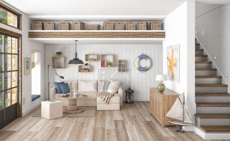 Photo for 3d render of scandinavian flat - livingroom - holiday flat - Royalty Free Image