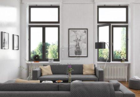 Photo pour Rendu 3D d'un vieux concept d'intérieur plat - salle de séjour - buliding. - image libre de droit