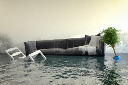 Photo for 3d render - Water damager after flooding in house with furniture floating. - Royalty Free Image
