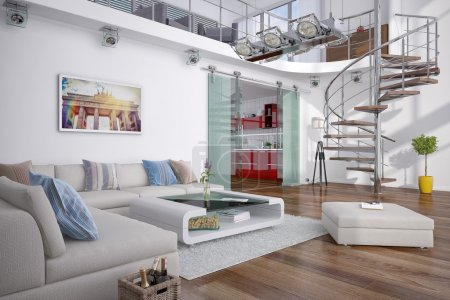 3d - modern loft with gallery