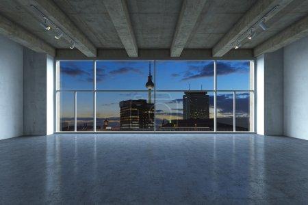Photo pour Appartement luxueuse moderne, vide dans la nuit. - image libre de droit