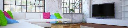 Foto de 3d rendering of a luxurios apartment - living room. - Imagen libre de derechos
