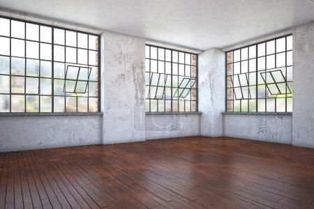 Photo pour Rendu 3d d'un vieux plat de buliding nettoyé moderne (concept intérieur) - image libre de droit