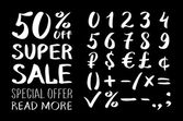 Numbers 0-9 written with a brush on a black background lettering Super Sale Big sale Sale tag Sale poster Sale vector Super Sale and special offer 50% off Vector illustration