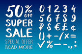 Numbers 0-9 written with a brush on a blue background lettering Super Sale Big sale Sale tag Sale poster Sale vector Super Sale and special offer 50% off Vector illustration