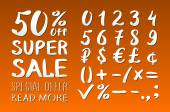 Numbers 0-9 written with a brush on a orange background lettering Super Sale Big sale Sale tag Sale poster Sale vector Super Sale and special offer 50% off Vector illustration
