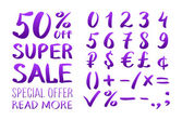 Numbers 0-9 written with a brush on a white background lettering Super Sale Big sale Sale tag Sale poster Sale vector Super Sale and special offer 50% off Vector illustration