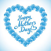 Mother Day Heart Made of blue Roses.  bouquet of blue roses heart isolated on white background. turquoise rose mother Day Heart Made of blue Roses Isolated on White Background. Floral heart shape vect